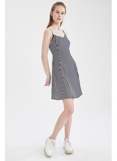 DeFacto Çiçekli V Yaka Ayarlanabilir Askılı Elbise Lacivert